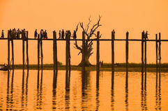 Sunset in U Bein bridge, Myanmar Stock Photo