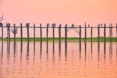 Sunset in U Bein bridge, Myanmar Royalty Free Stock Photos