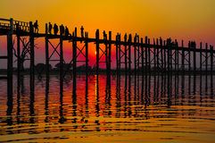 Sunset in U Bein bridge, Myanmar Royalty Free Stock Image