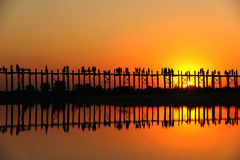 Sunset at U Bein bridge, Myanmar royalty free stock photos