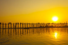 Sunset in U Bein bridge, Myanmar Royalty Free Stock Photo