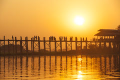 Sunset in U Bein bridge, Myanmar Stock Images