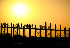 Sunset at U Bein Bridge Stock Photo