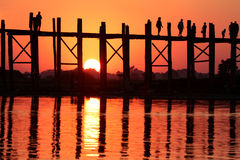 Sunset on U-Bein bridge Stock Image