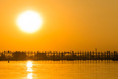 Sunset at U Bein Teakwood Bridge  , Amarapura in Myanmar (Burmar Stock Photo