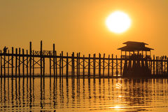 Sunset at U Bein Teakwood Bridge  , Amarapura in Myanmar (Burmar Stock Photography