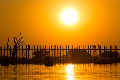 Sunset at U Bein Teakwood Bridge  , Amarapura in Myanmar (Burmar Royalty Free Stock Photography