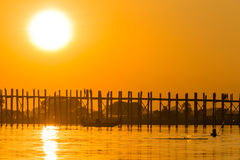 Sunset at U Bein Teakwood Bridge  , Amarapura in Myanmar (Burmar Stock Image
