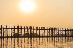 Sunset on Ubein bridge Royalty Free Stock Image