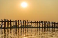 Sunset on Ubein bridge Royalty Free Stock Images