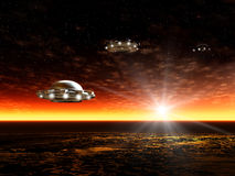 Sunset and UFO. Fantastic landscape with UFO and ocean, Mystical sunset. Illustration Stock Photos