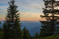 Sunset in the Ukrainian Carpathians Royalty Free Stock Images