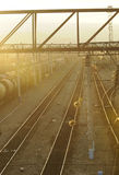 Sunset in Ulan Ude Railway Station. Casting a warm golden color on the tracks Royalty Free Stock Photos