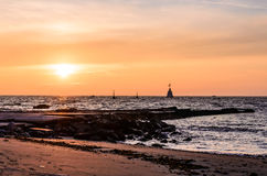 Sunset in Umag, Croatia stock images