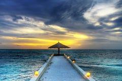 Sunset umbrella royalty free stock photo
