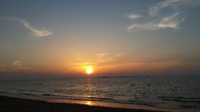 Sunset at the Umm Al Quwain beach - United Arab Emirates. Surrounded by beach, sun and sand - Umm Al Quwain is one of the seven Emirates in the United Arab royalty free stock images