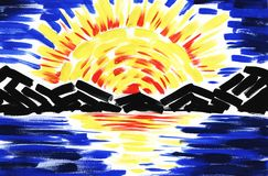 Sunset under Black Sea. Hand painted abstract landscape vector illustration