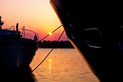 Sunset under the bow Royalty Free Stock Photo