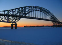 Sunset Under Bridge. In Burton, New Brunswick Royalty Free Stock Image