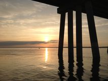 Sunset under the bridge. Bahia  reflections in the Stock Photography