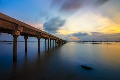 Sunset from under bridge Batam island Indonesia. Sunset from under bridge Batam island kepulauan Riau Indonesia asia Stock Photos