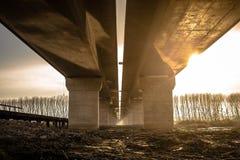 Sunset under the bridge - Belgrade, Sertbia Stock Photos