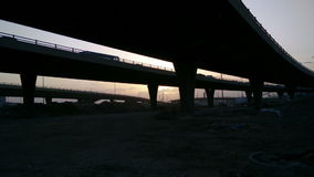 Sunset from under the bridges stock video