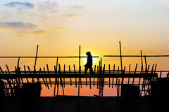 Sunset under the construction site. In China Stock Images