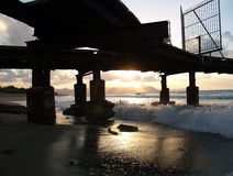 Sunset Under Dock Stock Images