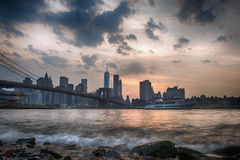 Sunset under manhattan bridge Royalty Free Stock Photo