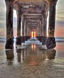 Sunset under the pier Stock Images
