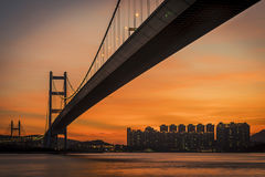 Sunset under the Tsing Ma Bridge of Hong Kong Royalty Free Stock Images