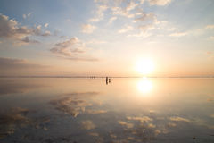 Sunset Under White Clouds and Blue Sky Royalty Free Stock Photos