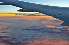Sunset under the wing Stock Image