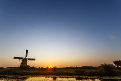 Sunset at Unesco world heritage windmills Royalty Free Stock Images
