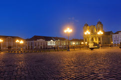 Sunset at  Union Square of Timisoara,. Romania Royalty Free Stock Image
