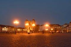 Sunset at  Union Square of Timisoara,. Romania Stock Photo