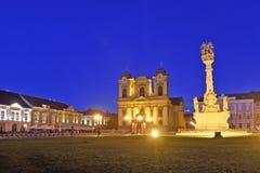 Sunset at  Union Square of Timisoara,. Romania Stock Images