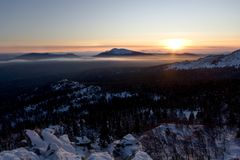 Sunset in Ural mountains.Taiga,Russia.Taganay park Stock Images
