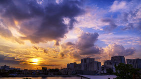 Sunset in urban area of Bangkok, Thailand Royalty Free Stock Photos