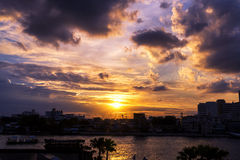 Sunset in urban area of Bangkok, Thailand Royalty Free Stock Images