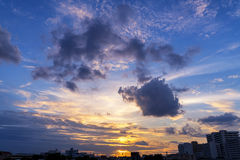 Sunset in urban area of Bangkok, Thailand Stock Photography