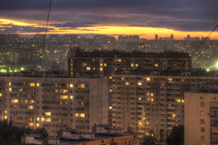 Sunset in an urban area. Royalty Free Stock Image