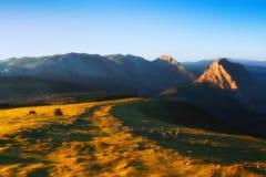 Sunset from Urkiolamendi. Mountain peak royalty free stock photo