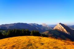 Sunset from Urkiolamendi. Mountain range stock photos