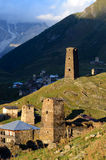 Sunset at Ushguli ,fortified medieval town in Caucasus mountains Royalty Free Stock Photo