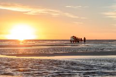 Sunset at Uyuni Salt Flats in Bolivia, the incredible salt desert in South America. Scenic sunset at Salar de Uyuni, Uyuni Salt Flats in Bolivia, the incredible stock photo