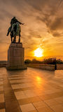 Sunset from Vitkov, Prague, Czech Republic. The National Monument, Vitkov Hill, Equestrian bronze statue of Jan Zizka, Hussite leader, Zizkov, Czech Republic Royalty Free Stock Photography