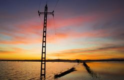 Sunset in rice field flooded with water with path and electric tower, Valencia, Spain stock photography