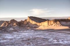 Sunset at Valle de la Luna. Valle de la Luna in the Atacama desert in Chile Stock Photo